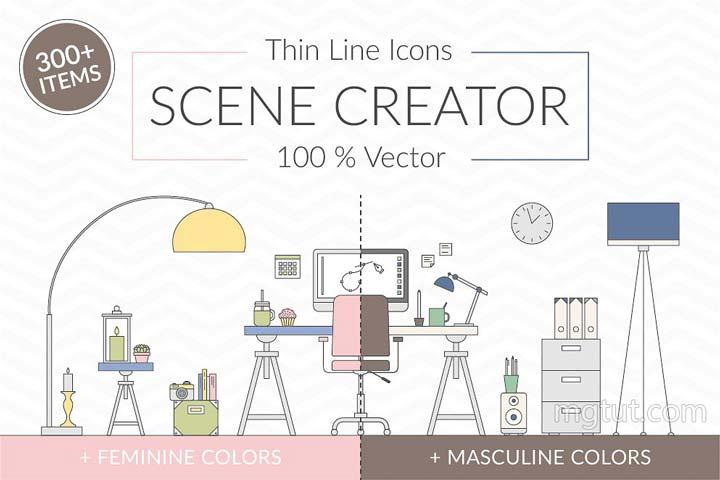 细线条风格室内办公桌平面矢量素材 Vector Thin Line Scene Creator