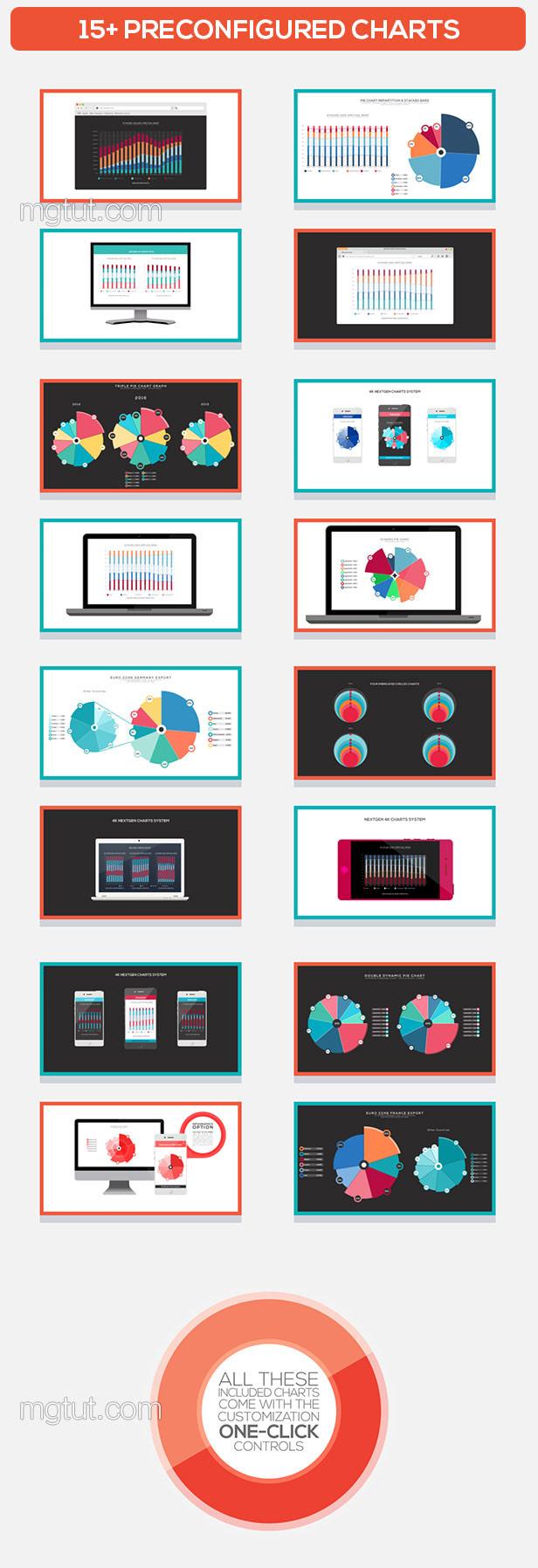 AE模板-信息数据图表饼状图柱状图4K动画