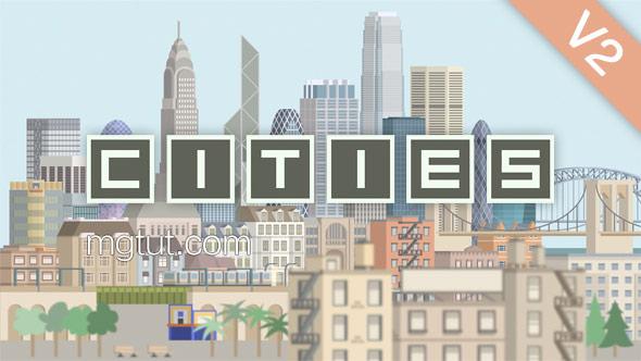 AE模板-城市建筑楼房生长旅游景点MG动画