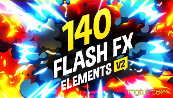 AE模板-140组手绘Flash风格卡通漫画游戏MG动画元素 + 带通道视频素材