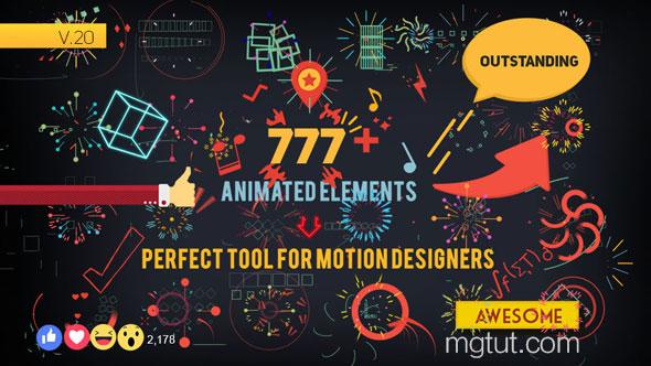 AE模板-777+扁平化二维图形MG动画元素包