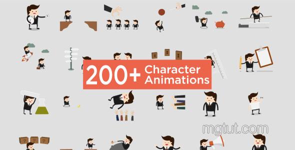 AE模板-200组MG动画卡通人物角色动作