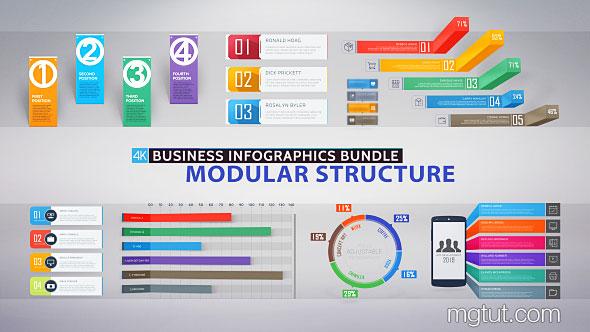 AE模板-商务公司PPT风格信息数据图标展示4K动画