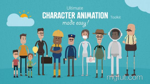 AE模板-二维卡通人物角色绑定动作场景MG动画元素包