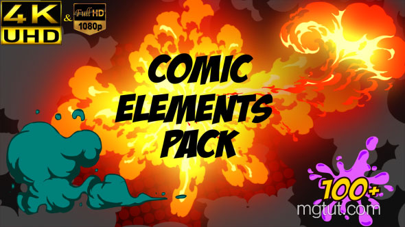 AE模板-综艺节目卡通动画气泡火焰烟雾4K元素