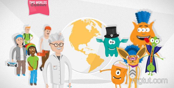 AE模板-儿童卡通怪物人物角色场景解说MG动画片头
