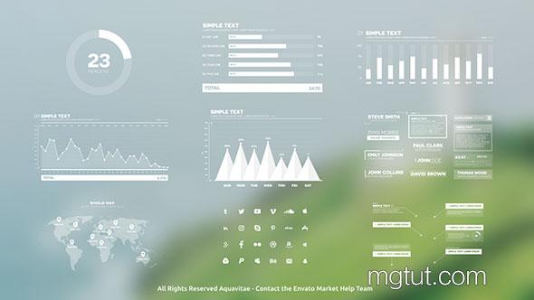 AE模板-柱状图饼状图信息数据表格展示动画