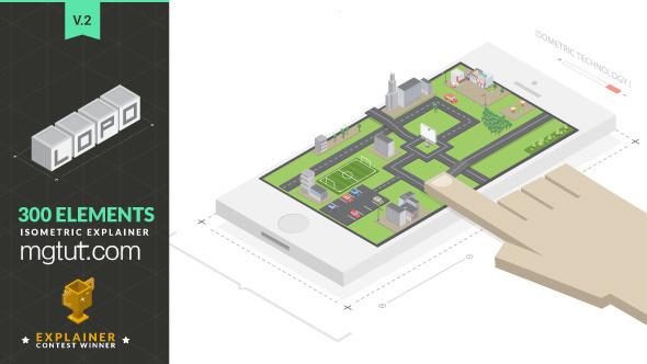 AE模板-三维立体等距风格卡通人物场景MG动画元素工具包