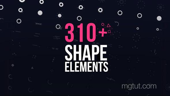 AE模板-100个简单图形MG动画元素+210个图形转场