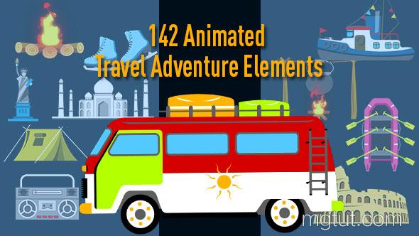 AE模板-142组旅游汽车景点MG动画元素