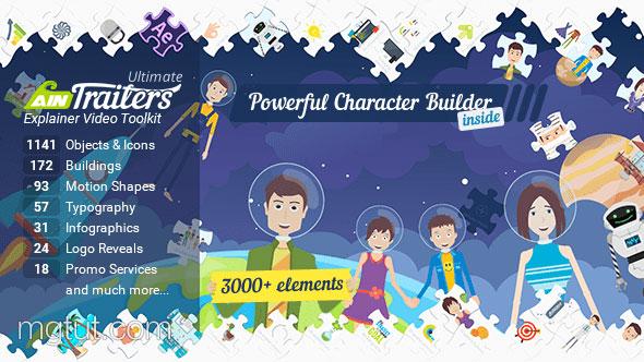 AE模板-卡通角色人物男女儿童MG动画场景片头工具包