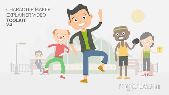 AE模板-卡通人物角色MG动画场景搭配制作工具包
